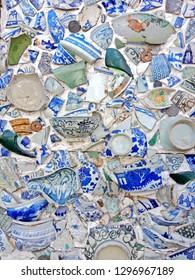 ceramics broken on wall interior design