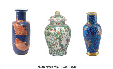 ceramics collage mix of beautiful vases isolated
