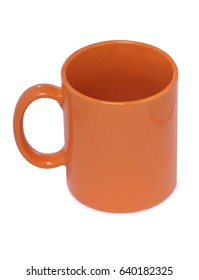 Ceramics cup with tea on white background