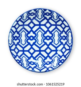 Ceramics decorative plates, Blue and white pottery plate, View from above isolated on white background with clipping path