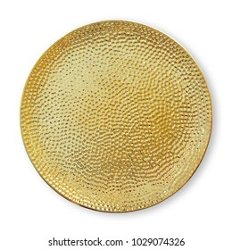 Ceramics decorative plates, Gold plate with rough pattern, View from above isolated on white background with clipping path