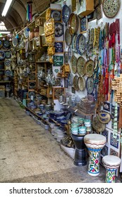 The ceramics dishes and souvenirs in the gift shop on market in Nazareth, Israel