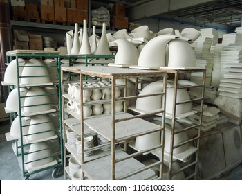 ceramics factory located in Marostica, Italy. Close-up photo of the ceramics produced. Several pots in a single photo. Industrial environment of Italy