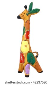Ceramics painted giraffe isolated on white background.