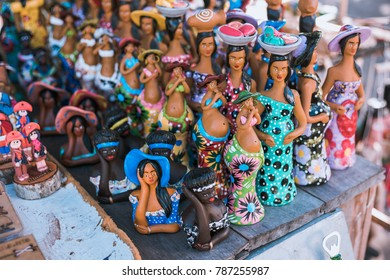 Ceramics and wood art concept. Handcrafts produced by the natives of the city of Olinda, typical of the northeast Brazilian people in Pernambuco, Brazil.
