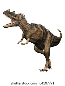 Ceratosaurus dinosaur full body attack mouth open howling. Predator, theropod, large head, short forelimbs, robust hind legs,  long tail. Late Jurassic Period. Isolated Illustration white background