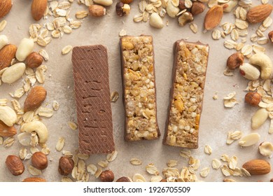 Cereal bars chocolate and nuts, healthy energy bites