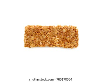 Cereal bars or flapjacks made from rolled oats isolated on white background. Top view.