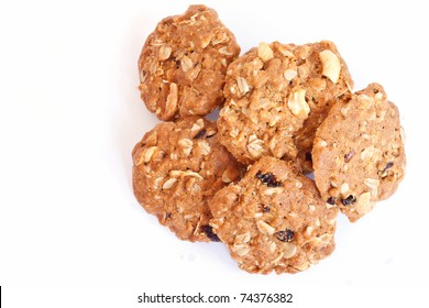 Cereal cookies on a white background