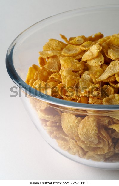 Cereal (corn flakes) in glass  bowl