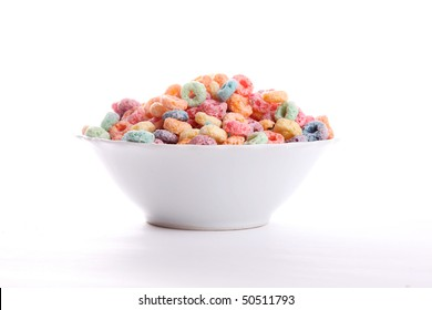 Cereal fruit on a plate over white background
