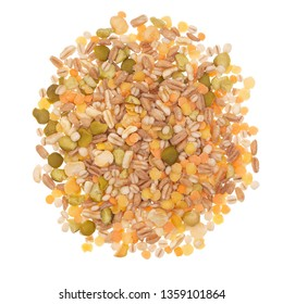 Cereal grains and beans, pulses mix. Heap, isolated on white background.