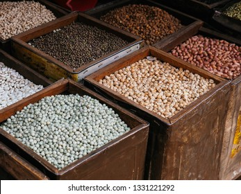 Cereal grains , seeds, beans inside the metal boxes which sell in Nepal