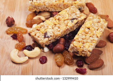 Cereal granola bars with nuts and dried fruit