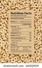 Cereal is a healthy breakfast, Healthy oats cereal with text of a nutrition label on a card