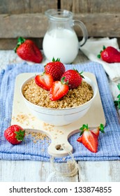 Cereal with strawberries . Breakfast.Selective focus