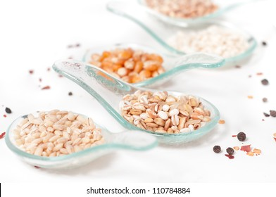 Cereals _ Grains on glass spoons
