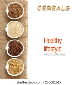 Cereals in bowls border with word Cereals isolated in white