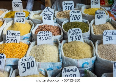 Cereals, rice, soybeans, lentils and other dry vegetables for sale in bags at marketplace