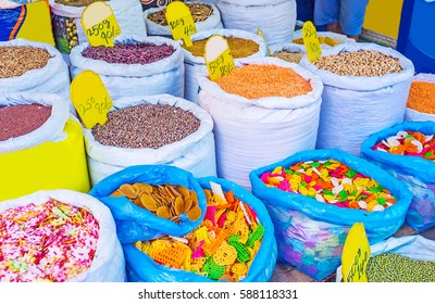 The cereals store at Manning Market in Pettah with red beans, colorful pasta, many species of lentil and chickpeas, Colombo, Sri Lanka.