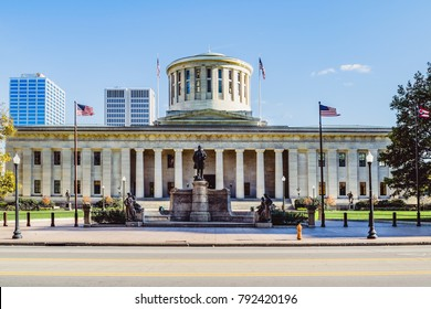 Ceremonial entrance of the Ohio Statehouse, one of the oldest working statehouses in the US.