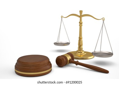 Ceremonial mallet and balance on white background.3D illustration.
