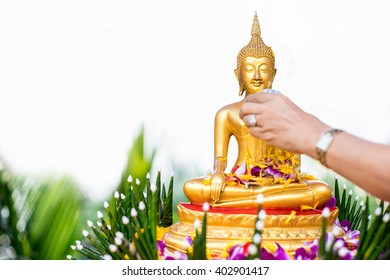 Ceremony pour water buddha statue water in Songkran Festival Thailand,Holidays and ancient tradition new year thailand,