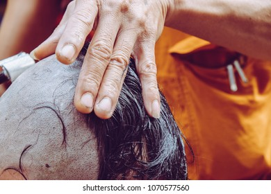 The ceremony of shaving the hair, Buddhist Ordination