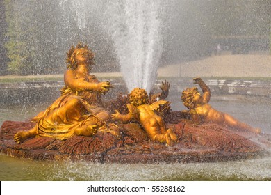 The Ceres (Roman Goddess of harvest and corn) fountain spraying water in Versailles Chateau. France