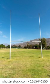 Ceres, South Africa, Dec 2019. Rugby pitch and goal posts at Ceres, South Africa