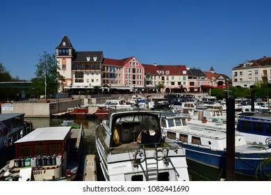 Cergy , France - april 20 2018 : the modern Port Cergy