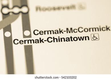 Cermark-Chinatown Station. Chicago Metro map.