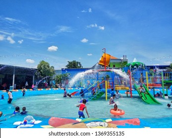 CERME, GRESIK, INDONESIA - March 10, 2019: solar Waterboom, an amazing new water park in Gresik. on March 10, 2019 in Cerme, Gresik, Indonesia. - Picture
