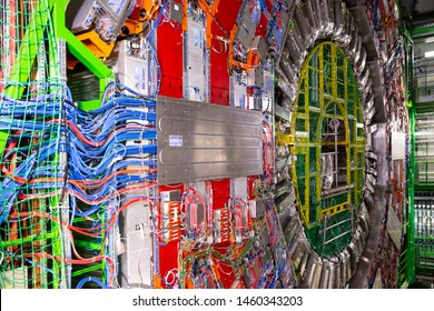 CERN, France - 25 June, 2019: A part of The Large Hadron Collider (LHC) is seen underground inthe French part of CERN.