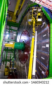 CERN, France - 25 June, 2019: Workers repair part of The Large Hadron Collider (LHC) is seen underground inthe French part of CERN.