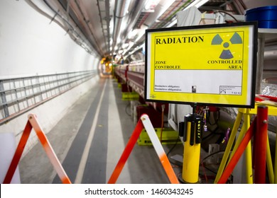 CERN, France - 25 June, 2019: A part of The Large Hadron Collider (LHC) is seen underground inthe French part of CERN. Radiation controlled aria.