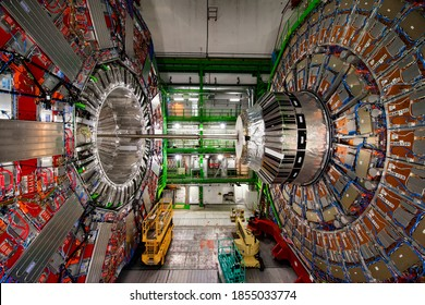 CERN, France - 25 october 2016: A part of The Large Hadron Collider (LHC) is seen underground inthe French part of CERN.