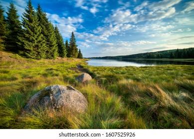 Cerna Nisa dam in Jizera Mountains, Czech Republic, the best photo. - Shutterstock ID 1607525926