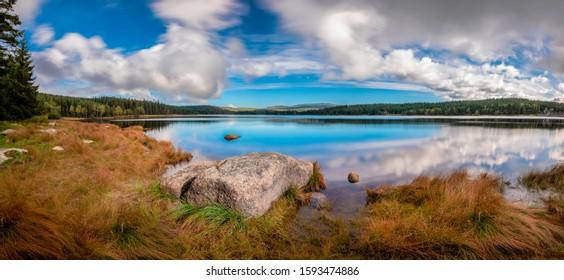 Cerna Nisa dam near Bedrichov city in Jizera Mountains, Czech Republic, the best photo. - Shutterstock ID 1593474886