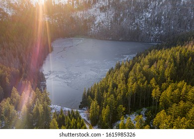 Cerne jezero in the Bohemian Forest is the largest and deepest natural lake in the Czech Republic. This triangular lake surrounded with spruce forest is located about 6 km northwest of Zelezna Ruda. - Shutterstock ID 1615985326