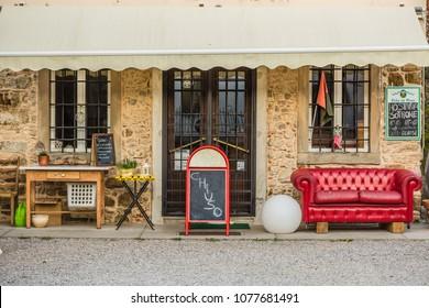 "CERNEGLONS, REMANZACCO, FRIULI VENEZIA GIULIA, ITALY - March, 2018: view of the entrance to the closed italian rural restaurant. Sign ""closed"""
