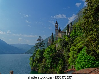 Cernobbio, Lombardy / Italy - 28th April 2018: luxurious villa on the coast of lake Como, that looks like a castle, reminding as neuschwanstein or disney castle by its architecture.