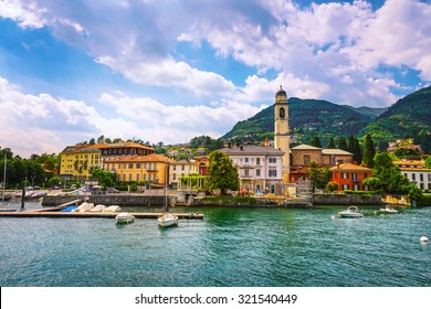 Cernobbio town in Como lake district. Italian traditional lake village. Italy, Europe.