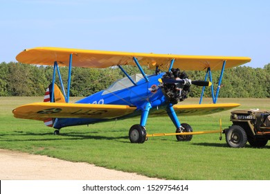 Cerny, France. October 13. 2019. Biplane stearman pt 17 which takes off from an aerodrome. Used for aerial acrobatics because very manageable and lightweight.