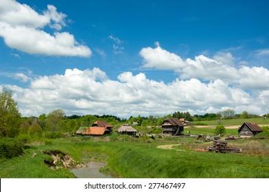 Cerovski Vrh, Croatia - May 2, 2015: Beautiful landscape view at ethno village Kravascica in Turopolje, Croatia. Turopolje is a region in Croatia situated between the capital city Zagreb and Sisak.