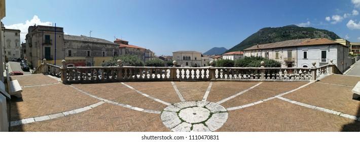 Cerreto Sannita, Benevento, Campania, Italy - June 1, 2018: Panoramic photo of the churchyard of the seventeenth-century church dedicated to San Martino Vescovo that dominates the central square