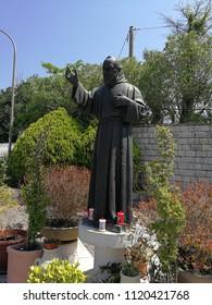 Cerreto Sannita, Benevento, Campania, Italy - June 1, 2018: Statue of Padre Pio in the churchyard of the Sanctuary of the Madonna delle Grazie
