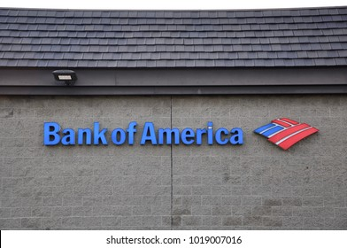Cerritos, California - January 16, 2018: Signage of Bank of America posted on the wall.