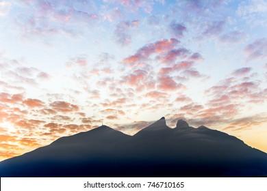 Cerro de la Silla mountain silhouette in Monterrey Nuevo Leon Mexico
