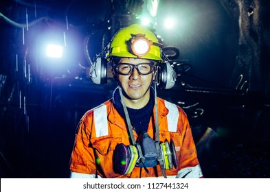 CERRO DE PASCO , PERU - JULY 14th 2017: A happy miner inside a mine in Cerro de Paso - Peru